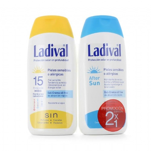 Duplo ladival pieles sensibles/ alergicas fps 15 - gel-crema fotoproteccion + after sun (pack duplo